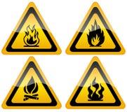 Segnale di pericolo della fiamma del fuoco Immagini Stock Libere da Diritti