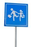 Segnale di pericolo della scuola, bambini sulla strada Immagini Stock