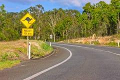 Segnale di pericolo della strada del canguro Fotografia Stock