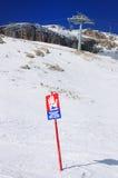 Segnale di pericolo della valanga, Italia Fotografia Stock Libera da Diritti
