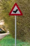 Segnale di pericolo dello scoiattolo Fotografia Stock Libera da Diritti
