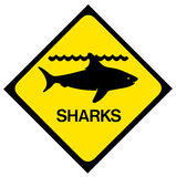 Segnale di pericolo dello squalo Fotografia Stock Libera da Diritti