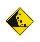 Segnale di pericolo di caduta della roccia isolato fotografia stock