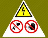 Segnale di pericolo di elettricità del pericolo Non tocchi, non getti l'acqua, nessun violare illustrazione vettoriale