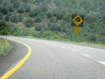 Segnale di pericolo giallo della strada Fotografia Stock Libera da Diritti