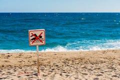 Segnale di pericolo nessun nuoto permesso Immagine Stock