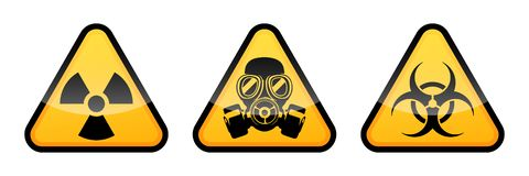 Segnale di pericolo di radiazione, segnale di pericolo di rischio biologico, segnale di pericolo della maschera antigas illustrazione di stock