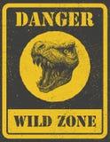 Segnale di pericolo segnale di pericolo con il dinosauro ENV 8 Fotografia Stock Libera da Diritti
