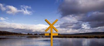Segnale di pericolo sul Lough Swilly, Co Il Donegal, Irlanda Fotografie Stock Libere da Diritti