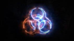 Segnale di rischio biologico, scariche elettriche sul segno di rischio biologico Plasma sul distintivo Il segno non ha base 17 illustrazione vettoriale
