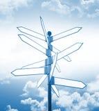 Segnale e cielo di direzioni in bianco Fotografie Stock
