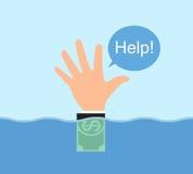 Segnale manuale, ricorso che galleggia nell'acqua. Immagine Stock