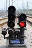 Segnale rosso del treno Immagini Stock