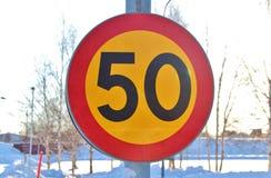 Segnale stradale 50 Fotografia Stock Libera da Diritti