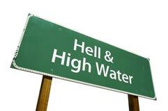 Segnale stradale acqua dell'alta & di inferno Immagini Stock