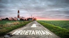 Segnale stradale al vegetariano fotografia stock libera da diritti