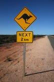 Segnale stradale australiano del canguro Fotografie Stock