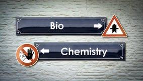 Segnale stradale bio- contro chimica immagini stock