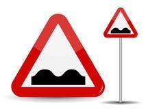 Segnale stradale che avverte strada irregolare Nell'immagine rossa del triangolo di cattiva copertura con i pozzi Illustrazione d illustrazione vettoriale