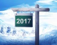 Segnale stradale con il numero 2017 Immagine Stock Libera da Diritti