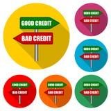 Segnale stradale con la buona icona di parole di credito di cattivo credito o logo, insieme di colore con ombra lunga illustrazione vettoriale