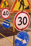 Segnale stradale in costruzione Fotografia Stock