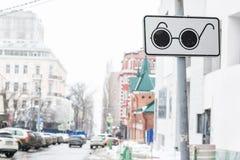 Segnale stradale d'attraversamento della gente cieca Fotografia Stock Libera da Diritti