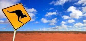Segnale stradale del canguro Fotografie Stock Libere da Diritti