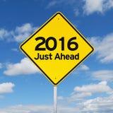 Segnale stradale del nuovo anno 2016 appena avanti Fotografie Stock Libere da Diritti