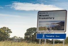 Segnale stradale del promontorio di Wilsons, Victoria - Australia Fotografia Stock Libera da Diritti