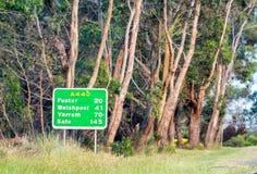 Segnale stradale del promontorio di Wilsons, Victoria - Australia Fotografia Stock