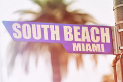 Segnale stradale del sud di Miami della spiaggia Immagine Stock