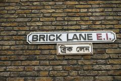 Segnale stradale del vicolo del mattone, Londra, U Immagini Stock Libere da Diritti