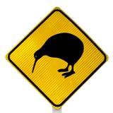 Segnale stradale dell'incrocio del Kiwi di attenzione fotografia stock libera da diritti