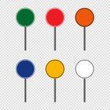 segnale stradale dell'insieme di simboli, segni del bordo della strada isolati su fondo trasparente Illustrazione ENV 10 di vetto illustrazione vettoriale