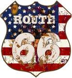 Segnale stradale dell'itinerario 66 Fotografie Stock Libere da Diritti