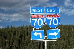 Segnale stradale dell'itinerario 70 Fotografie Stock Libere da Diritti