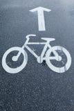 Segnale stradale della bicicletta e freccia bianca Immagini Stock Libere da Diritti
