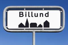 Segnale stradale della città di Billund Fotografia Stock Libera da Diritti
