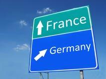 Segnale stradale della Francia-Germania Fotografie Stock