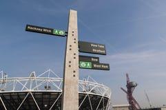 Segnale stradale della sosta olimpica Fotografia Stock