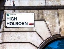 Segnale stradale di alta Holborn a Londra centrale Immagine Stock Libera da Diritti