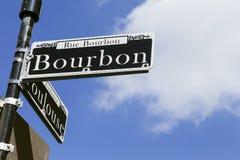 Segnale stradale di Bourbon a New Orleans Fotografie Stock