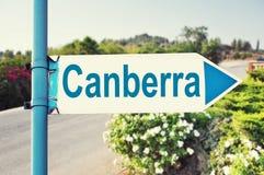 Segnale stradale di Canberra, Australia Immagine Stock