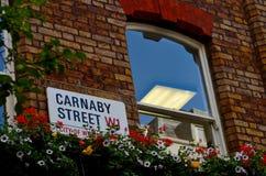 Segnale stradale di Carnaby con la finestra ed i fiori conservati in vaso Londra Inghilterra Fotografie Stock Libere da Diritti