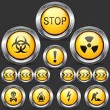 Segnale stradale di cautela e del pericolo Insieme delle icone rotonde Fotografia Stock