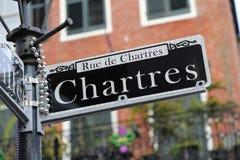 Segnale stradale di Chartres - di New Orleans fotografia stock
