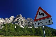 Segnale stradale di Dolomiti Fotografia Stock Libera da Diritti