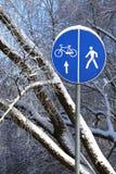 Segnale stradale di inverno Fotografia Stock