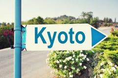 Segnale stradale di Kyoto, Giappone Fotografie Stock